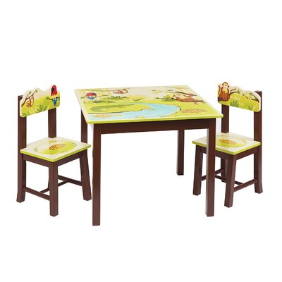 Jungle Party Kids 3 Piece Rectangle Table and Chair Set