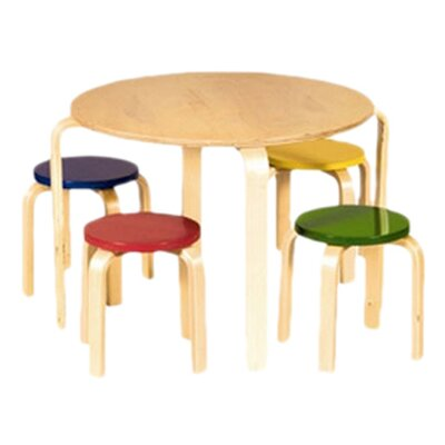 Guidecraft Nordic Kids' 5 Piece Table and Stool Set