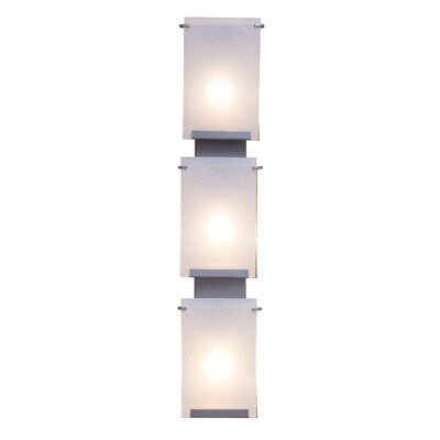 Varaluz Rain Three Light Vanity Light in Hammered Ore with Frosted Grass Shade
