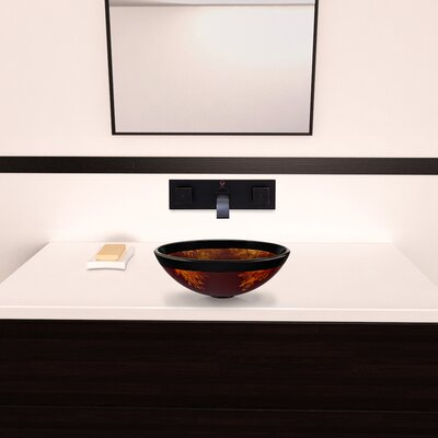 Vigo Fusion Glass Vessel Bathroom Sink with Titus Wall Mount Faucet