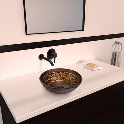 Vigo Golden Greek Glass Vessel Bathroom Sink with Olus Wall Mount Faucet