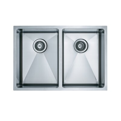 "Vigo 29"" x 20"" Equal Double Bowl 15 Degree Radius Undermount Kitchen Sink"
