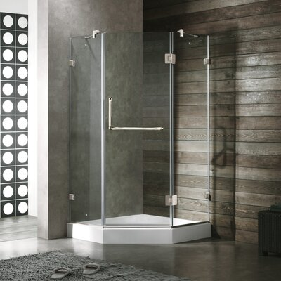 Vigo Neo-Angle Door Frameless Frosted Shower Enclosure with Base and Right Handed Door