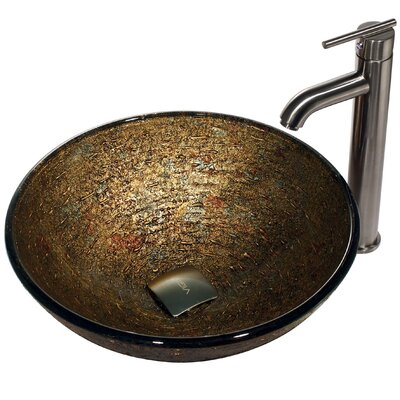 Vigo Glass Textured Bathroom Sink with Statuesque Faucet