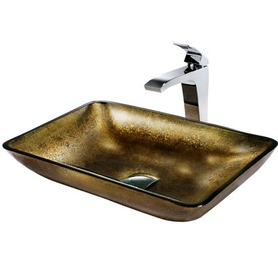 Vigo Rectangular Glass Bathroom Sink with Fountain Faucet