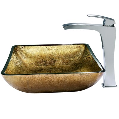 Vigo Rectangular Glass Bathroom Sink with Fountain Faucet - VGT156 ...