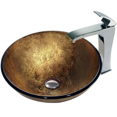 Liquid Gold Glass Bathroom Sink with Single Lever Faucet - VGT140