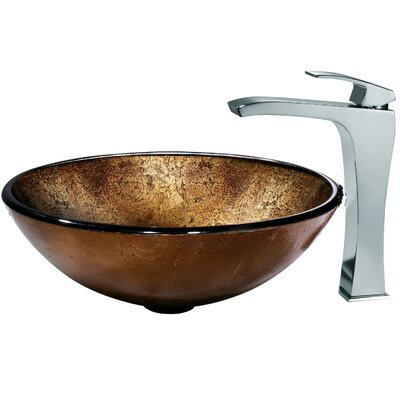 Vigo Lava Glass Vessel Sink and Faucet