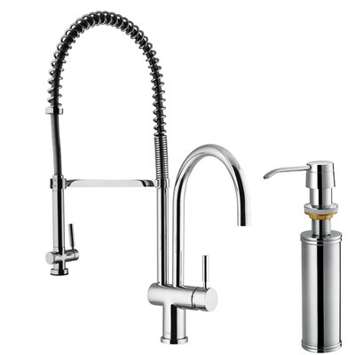 Vigo Two Handle Widespread Pull-Out Spray Bar Faucet with Soap Dispenser