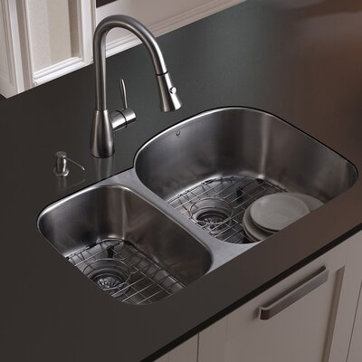 Vigo Double Bowl Stainless Steel Undermount Kitchen Sink Set