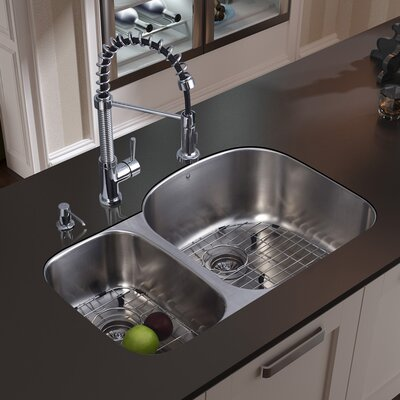 "Vigo 31.5"" x 20.5"" Double Bowl Undermount Kitchen Sink with Faucet, Two Grids, Two Strainers and Dispenser"