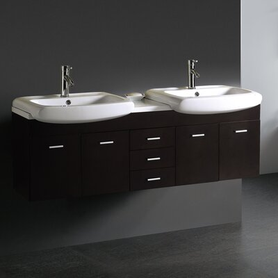 "Vigo Contemporary Wall Mounted 59"" Double Bathroom Vanity Set"