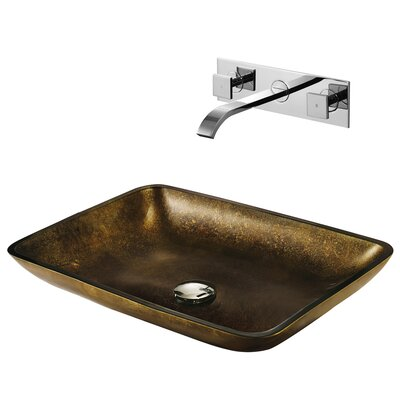 Copper Glass Bathroom Sink with Faucet - VGT112