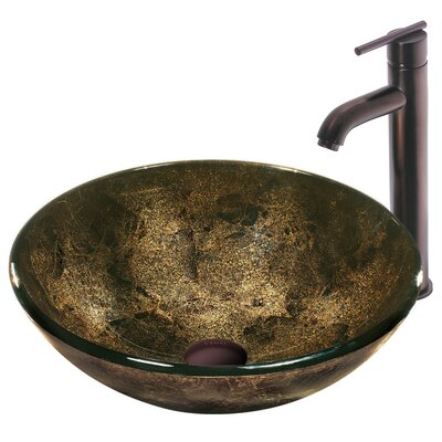 Sintra Glass Bathroom Sink with Single Handle Faucet - VGT129