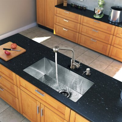 "Vigo All in One 32"" x 19"" Undermount Kitchen Sink and 13"" Faucet Set"