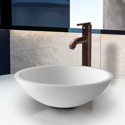 Flat Edged Stone Glass Vessel Bathroom Sink with Faucet - VGT210 / VGT211