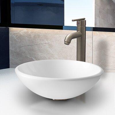 Vigo Stone Glass Vessel Bathroom Sink with Faucet