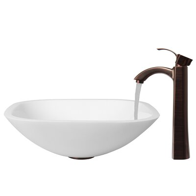 Vigo Stone Glass Vessel Bathroom Sink with Faucet