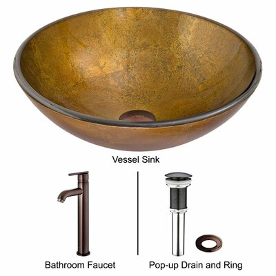 Vigo Atlantis Glass Bathroom Sink with Faucet
