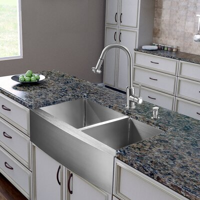 "Vigo 36"" x 22.25"" Double Bowl Farmhouse Kitchen Sink with Faucet"