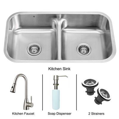 "Vigo 32.5"" x 18.25"" Double Bowl Undermount Kitchen Sink with Faucet, Two Strainers and Soap Dispenser"