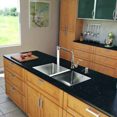 "Vigo 29.25"" x 18.5"" Zero Radius Double Bowl Kitchen Sink with Faucet"