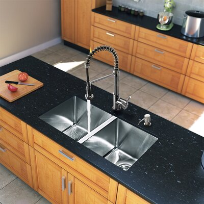 "Vigo 29"" x 20"" Double Bowl Kitchen Sink with Sprayer Faucet"