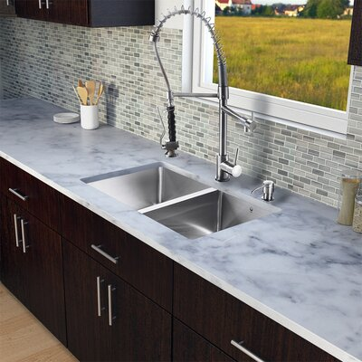 "Vigo 29.25"" x 18.5"" Zero Radius Double Bowl Kitchen Sink with Sprayer Faucet"
