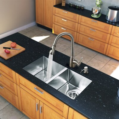 "Vigo 29.25"" x 18.5"" Zero Radius Double Bowl Kitchen Sink with Pull-Out Sprayer Faucet"