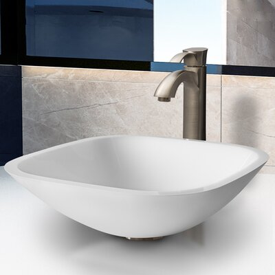 Phoenix Square Stone Glass Vessel Sink with Faucet - VGT205