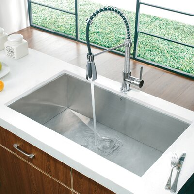 "Vigo 32"" x 19"" Super Single Bowl Zero Radius 16 Gauge Undermount Kitchen Sink"