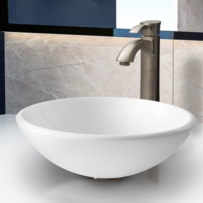 Vigo Phoenix Round Stone Glass Vessel Sink with Faucet