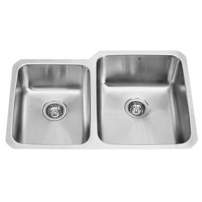 "Vigo 32"" x 20.75"" Double Bowl Undermount Kitchen Sink"