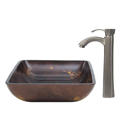 Fusion Glass Vessel Sink and Otis Faucet Set - VGT309