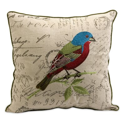 Betsy Embroidered Bird Pillow