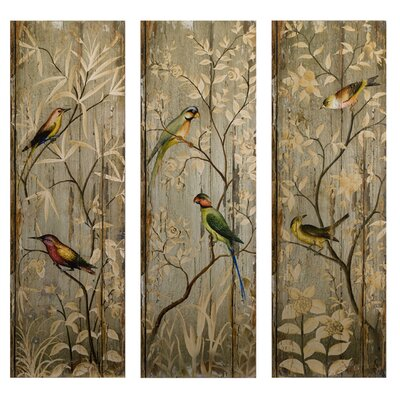Calima Bird Decor 3 Piece Original Painting Plaque Set