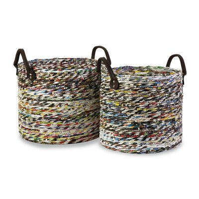 IMAX Alaina Recycled Magazine Basket (Set of 2)