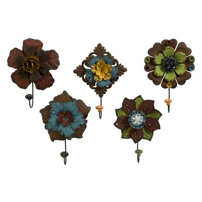 IMAX Caldwell Floral Coat Hook (Set of 5)