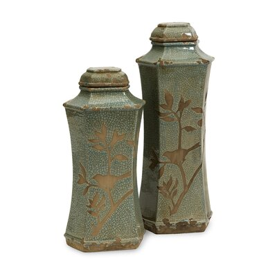 <strong>IMAX</strong> 2 Piece Marsh Lidded Decorative Bottle Set
