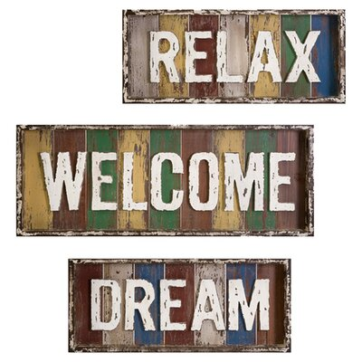 IMAX 3 Piece Bingham Dream, Relax, Welcome Wall Décor Set | Wayfair