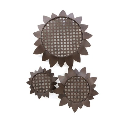 IMAX Sunflower Tray Wall Decor (Set of 3)