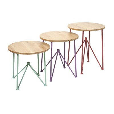 IMAX Alice 3 Piece Metal and Wood End Tables Set