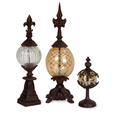 3 Piece Glass and Metal Finials Set