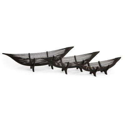 3 Piece Kawayan Boat Bowl Set in Chocolate Brown