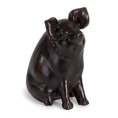 Curious Pig Figurine in Brown