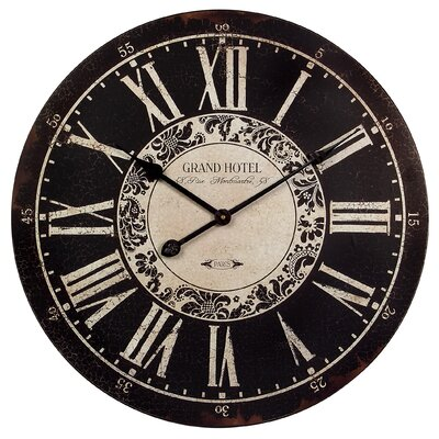 Wildon Home ® Grand Hotel Wall Clock in Black/White