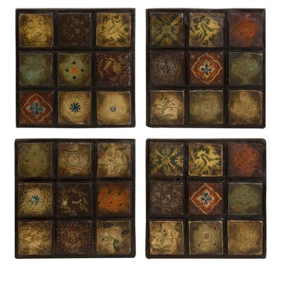IMAX Barberry Handpainted Ceramic Wall Tiles (Set of 4)