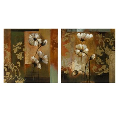 Damask Floral Oil On Canvas (Set of 2)