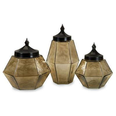 IMAX 3 Piece Hammered Prism Decorative Jar Set