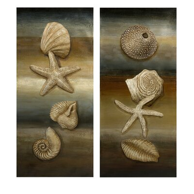 IMAX Westport Shell Still Life Oil Painting (Set of 2)